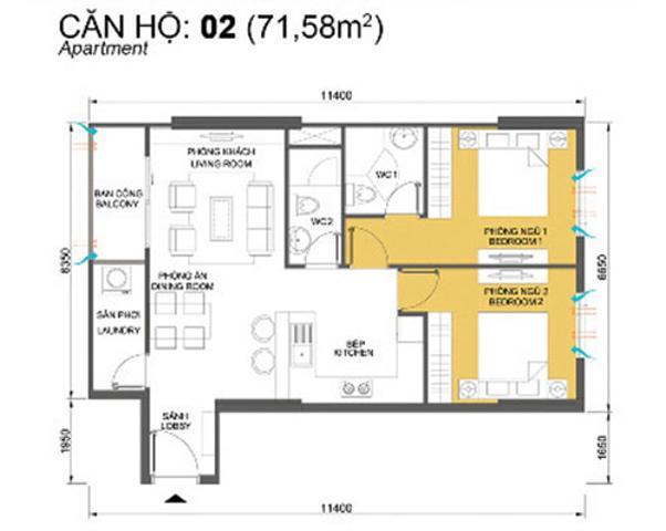 Bản vẽ căn hộ mẫu 71,58m2 T4B Masteri Thảo Điền Căn góc trung tầng T4B Masteri Thảo Điền