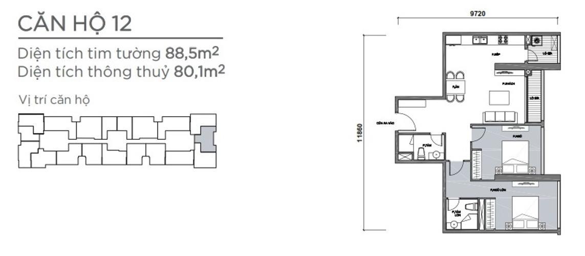 Mặt bằng căn hộ 2 phòng ngủ Căn hộ Vinhomes Central Park 2 phòng ngủ tầng cao P7 nhà trống