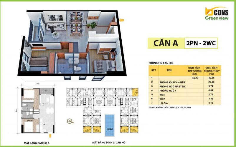 Mặt bằng bố trí Bcons Green View Căn hộ Bcons Green View tầng cao, ban công rộng rãi.