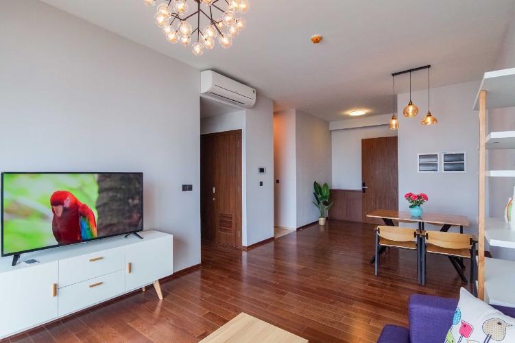 Phòng khách căn hộ D'EDGE Cho thuê căn hộ D'Edge view thành phố thoáng mát, đầy đủ nội thất.