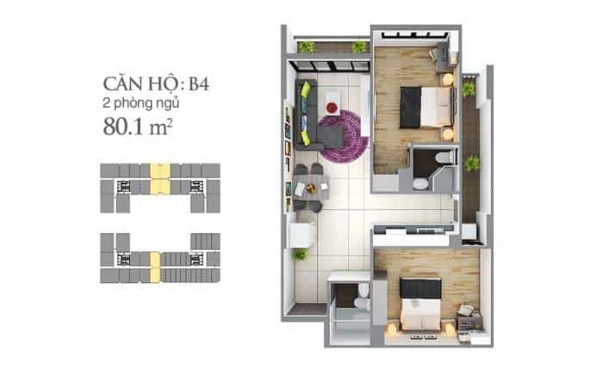 ban-ve-can-b4-sky-center Cho thuê căn hộ Sky Center Tân Bình 2PN, diện tích 75m2, ban công hướng Bắc thông thoáng