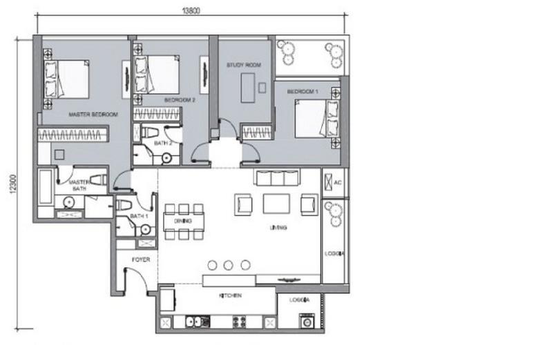 Mặt bằng căn hộ 4 phòng ngủ Căn góc Vinhomes Central Park tầng cao C1 view trực diện sông