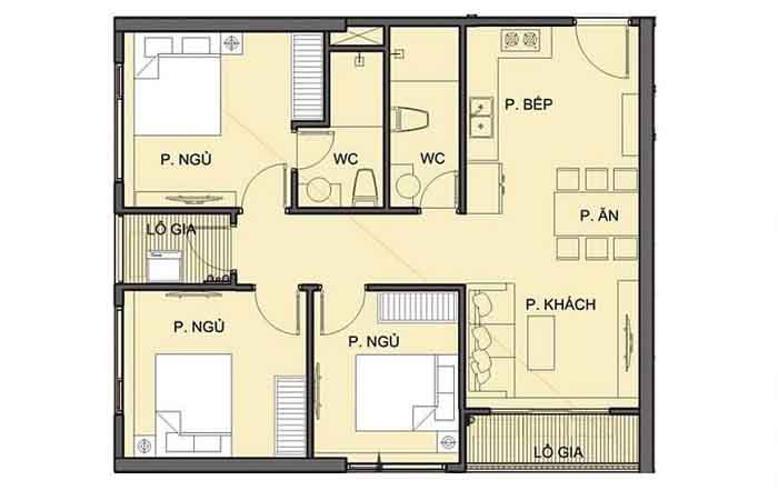 Mặt bằng căn hộ Vinhomes Grand Park Căn hộ Vinhomes Grand Park thiết kế sang trọng 3 phòng ngủ.