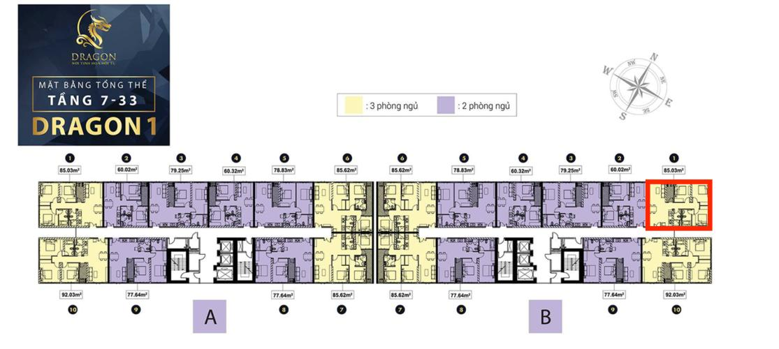 Mặt bằng tầng căn hộ Topaz Elite Căn hộ 3 phòng ngủ Topaz Elite ban công hướng Tây Bắc.
