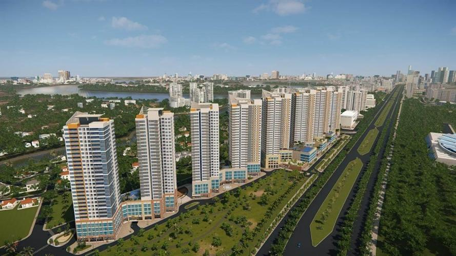 The Sun Avenue Căn hộ The Sun Avenue tầng cao, ban công thoáng mát view thành phố.