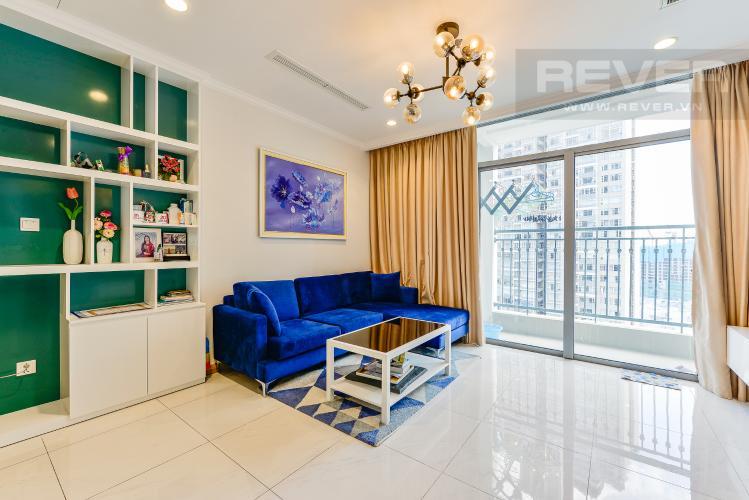 Phòng khách Cho thuê căn hộ Vinhomes Central Park tầng cao, 1PN, đầy đủ nội thất, view sông
