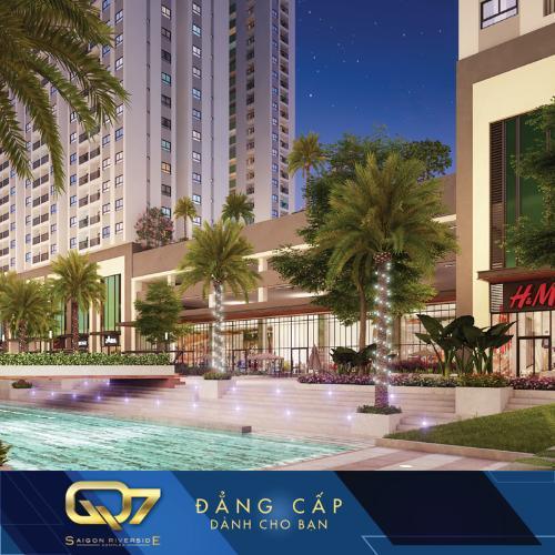 Nôi khu - Hồ bơi Q7 Sài Gòn Riverside Căn hộ Q7 Saigon Riverside tầng cao nội thất cơ bản, hướng Bắc.
