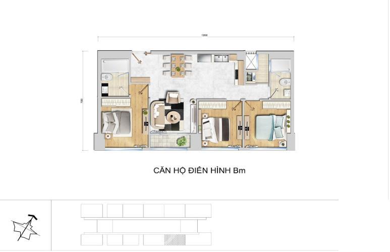 Mặt bằng căn hộ 3 phòng ngủ Căn hộ New City Thủ Thiêm 3 phòng ngủ tầng cao BA nhà trống