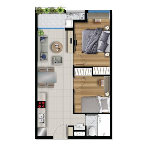 Layout căn hộ River Panorama , Quận 7 Căn hộ tầng cao River Panorama view thoáng mát, nội thất cơ bản.