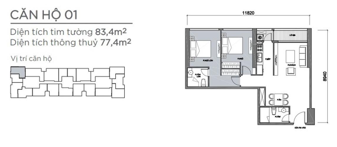 Mặt bằng căn hộ 2 phòng ngủ Căn hộ Vinhomes Central Park 2 phòng ngủ tầng thấp P7 view nội khu