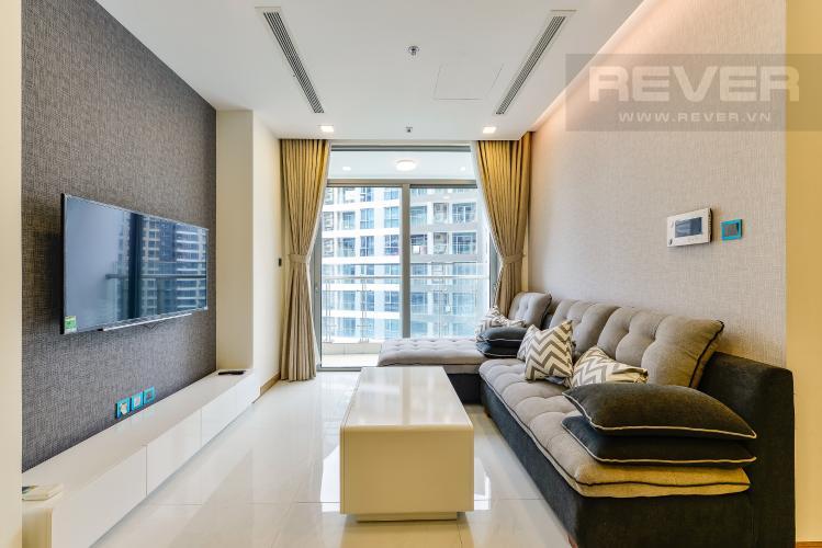 Phòng khách Căn hộ Vinhomes Central Park tầng cao, tháp Park 3, 3 phòng ngủ, view sông