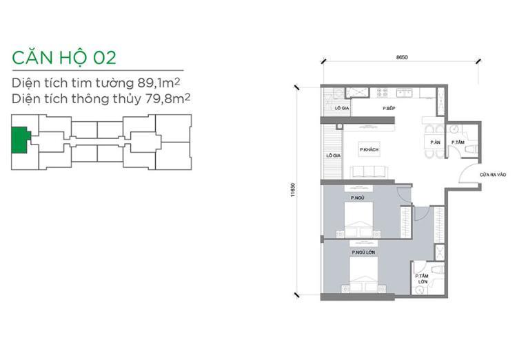Căn hộ 2 phòng ngủ Căn hộ Vinhomes Central Park 2 phòng ngủ tầng trung Park 3