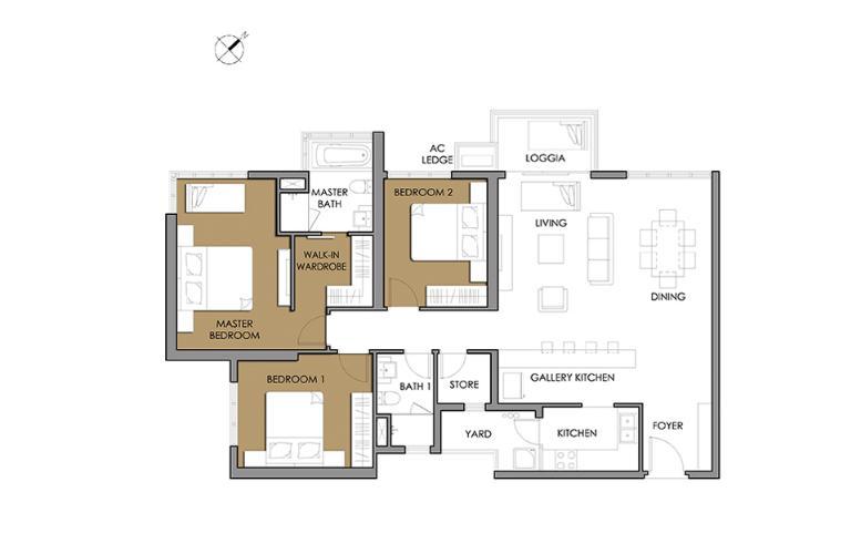 Căn hộ 3 phòng ngủ Căn góc Vista Verde 3 phòng ngủ tầng cao T1 mới bàn giao, view sông