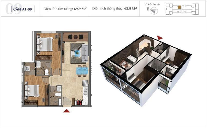 Mặt bằng căn hộ Sunshine City Sài gòn Bán căn hộ Office-tel Sunshine City Saigon diện tích 70m2