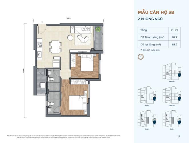 layout 3D căn số 14 dự án Precia quận 2 Căn hộ Precia nội thất cơ bản, ban công thoáng mát.