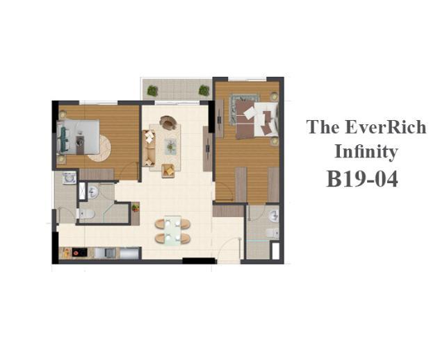 Cho thuê căn hộ The Everrich Infinity thuộc tầng trung diện tích 84.6m2