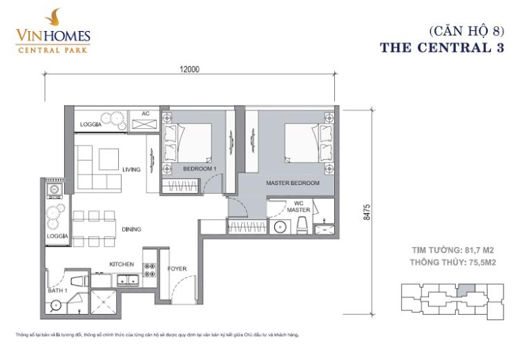Mặt bằng căn hộ 2 phòng ngủ Căn hộ Vinhomes Central Park tầng cao hướng Đông Central 3