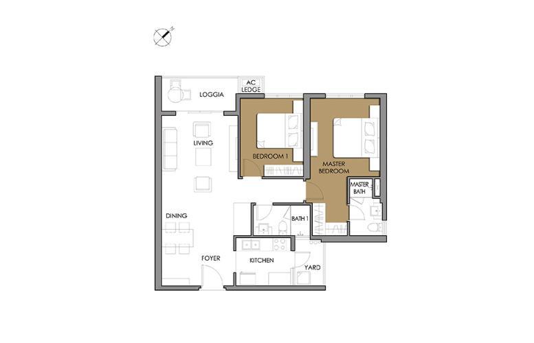 Căn hộ 2 phòng ngủ Căn góc Vista Verde 2 phòng ngủ tầng cao T1 nhà giao thô