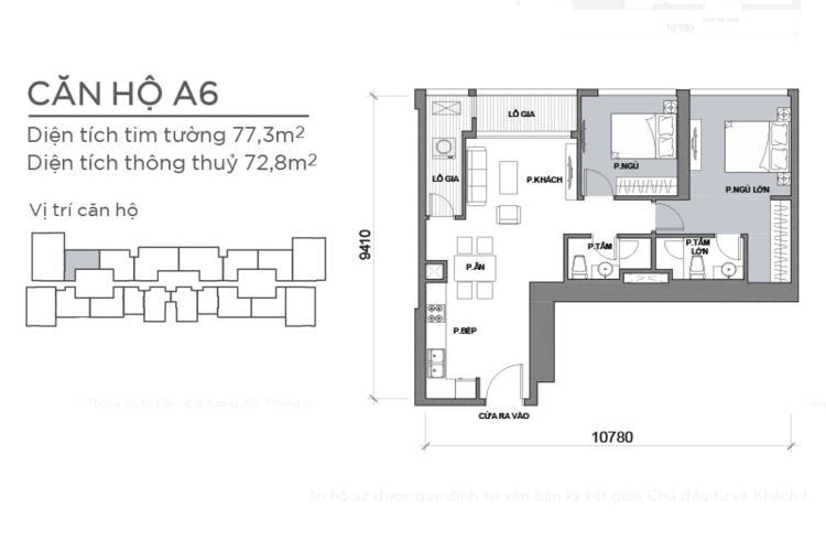 Mặt bằng căn hộ 2 phòng ngủ Căn hộ Vinhomes Central Park 2 phòng ngủ, tầng cao P6, view sông