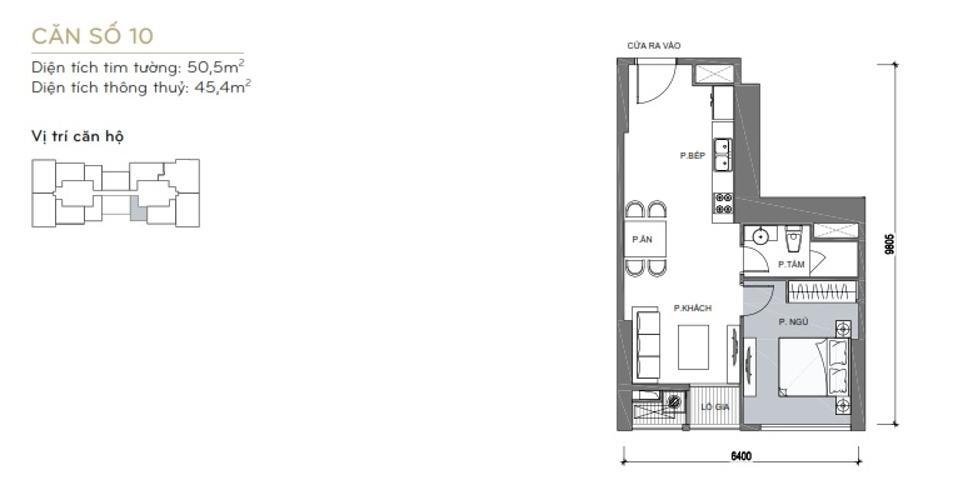 Mặt bằng căn hộ 1 phòng ngủ Căn hộ Vinhomes Central Park 1 phòng ngủ tầng trung L6 hướng Tây Nam