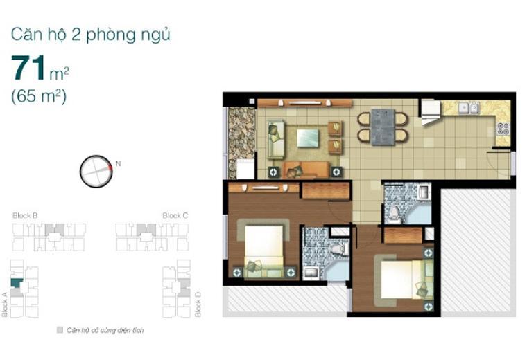 Mặt bằng căn hộ 2 phòng ngủ Căn hộ Lexington Residence 2 phòng ngủ nằm ở tầng trung LA nội thất đầy đủ