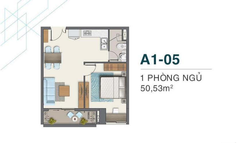 Layout Q7 Boulevard Căn hộ Q7 Boulevard tầng 15, nội thất cơ bản, 1 phòng ngủ.