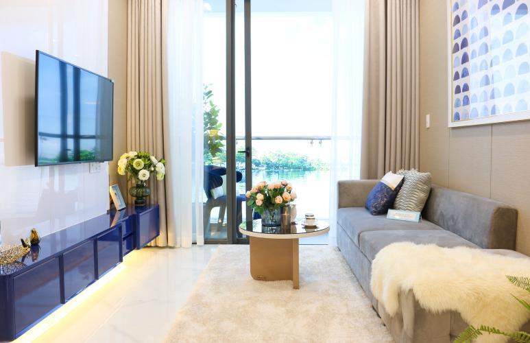 Phòng khách căn hộ Precia, Quận 2 Căn hộ Precia tầng 11 nội thất cơ bản, 1 phòng ngủ.