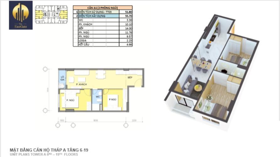Căn hộ tầng 12B The EastGate nội thất cơ bản, view thoáng
