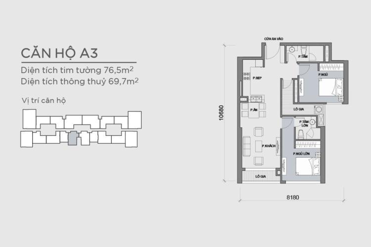 Mặt bằng căn hộ 2 phòng ngủ Căn hộ Vinhomes Central Park 2 phòng ngủ tầng thấp P6 hướng Tây