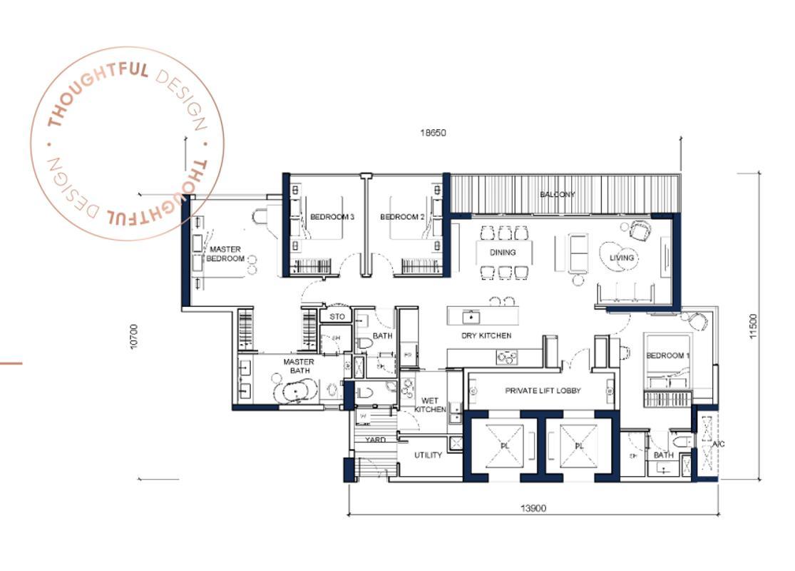 T3-30.01 Bán căn hộ Q2 Thao Dien 4 phòng ngủ, diện tích 181m2, nội thất cơ bản, view sông
