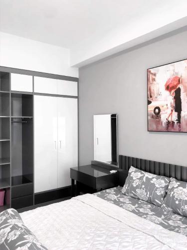 Phòng ngủ căn hộ The Sun Avenue Căn hộ The Sun Avenue view Landmark 81, đầy đủ tiện nghi.
