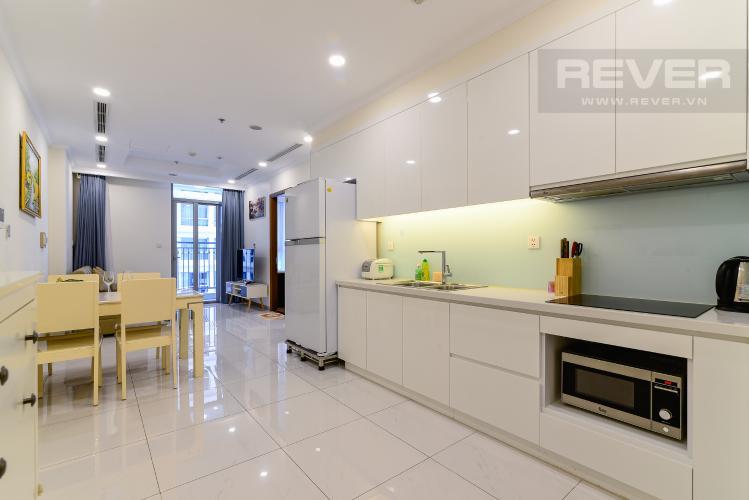 Phòng Khách Cho thuê căn hộ Vinhomes Central Park 50.5m2 1PN 1WC, nội thất tiện nghi, view hồ bơi