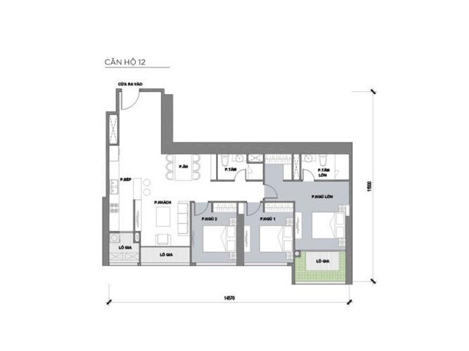 Mặt bằng căn hộ 3 phòng ngủ Căn hộ Vinhomes Central Park 3 phòng ngủ tầng thấp P2 view sông