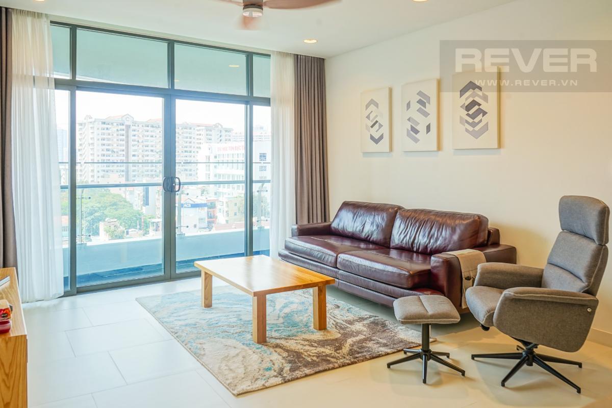 Phòng Khách Cho thuê căn hộ City Garden 1 phòng ngủ, tháp Promenade 2, đầy đủ nội thất, view trực diện hồ bơi
