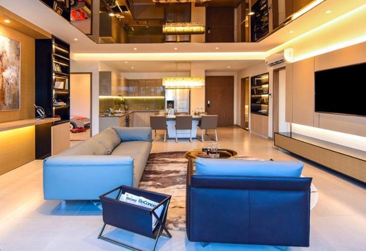 Phòng khách Căn hộ tầng cao Sky 89 nội thất cơ bản, 1 phòng ngủ.