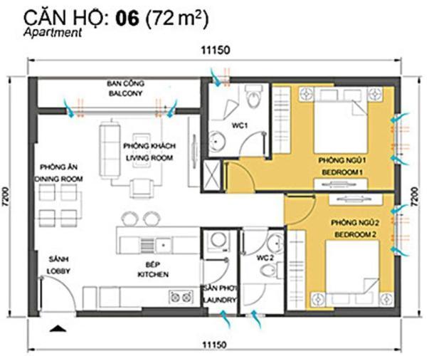 Mặt bằng căn hộ Căn hộ T4B Masteri Thảo Điền trung tầng hướng Tây