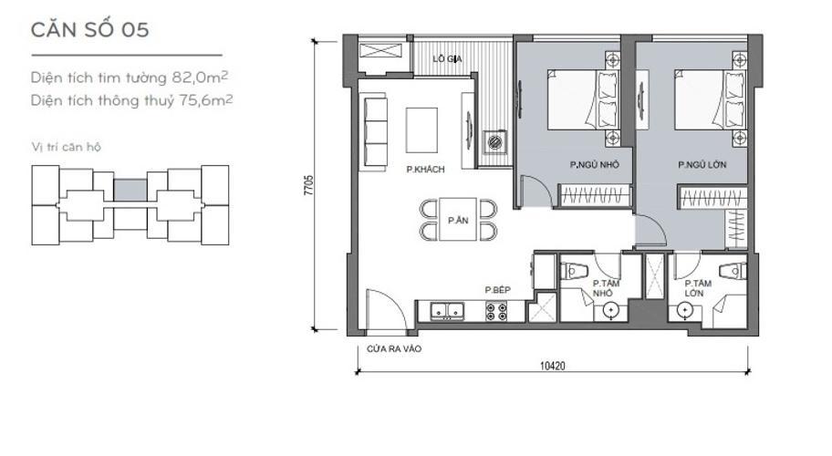 Mặt bằng căn hộ 2 phòng ngủ Căn hộ Vinhomes Central Park 2 phòng ngủ tầng thấp L5 nhà trống