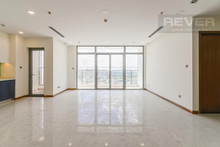 Phòng khách Căn góc Vinhomes Central Park 4 phòng ngủ, nội thất cơ bản, view sông