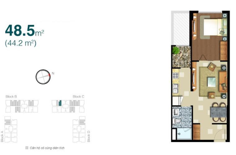 Mặt bằng căn hộ 1 phòng ngủ Căn hộ Lexington Residence 1 phòng ngủ tầng trung LC đầy đủ tiện nghi