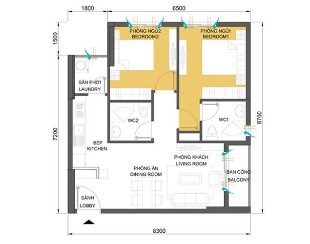 Mặt bằng căn hộ 2 phòng ngủ T1B-05 Căn hộ Masteri Thảo Điền tầng cao tháp T1B view nhìn về Quận 1