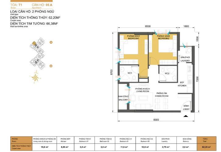 Mặt bằng căn hộ 2 phòng ngủ Căn hộ Masteri Thảo Điền 2 phòng ngủ tầng trung T1 nội thất đầy đủ