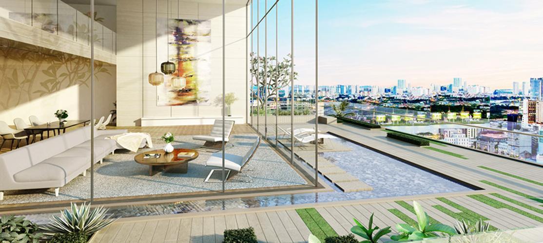 Nội khu Masteri Millennium Quận 4 Căn hộ Masteri Millennium tầng trung, view sông Sài Gòn.