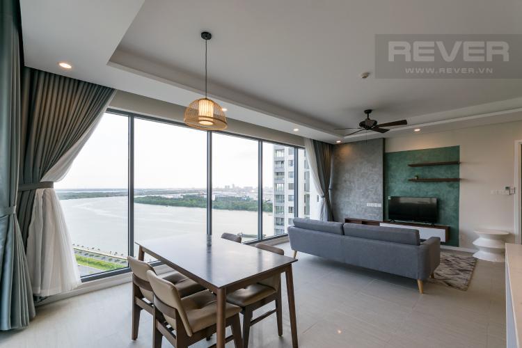 Phòng Khách Căn hộ Diamond Island - Đảo Kim Cương tầng cao, 3PN, view sông thoáng mát