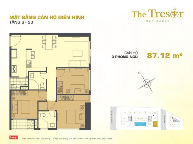 Căn hộ 3 phòng ngủ Căn góc The Tresor 3 phòng ngủ tầng cao TS1 view sông