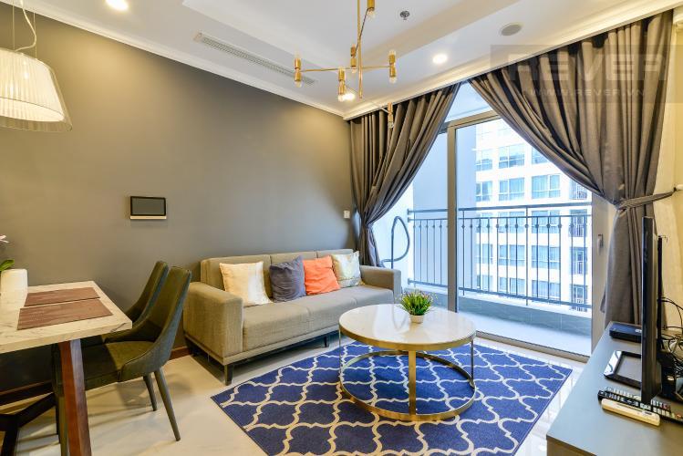 Phòng Khách Căn hộ Vinhomes Central Park tầng cao, Landmark 6, 2PN đầy đủ nội thất