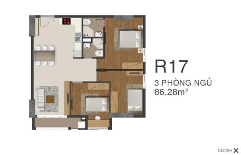 Bán căn hộ Richmond City 2 phòng ngủ, diện tích 86,26m2, nội thất cơ bản.