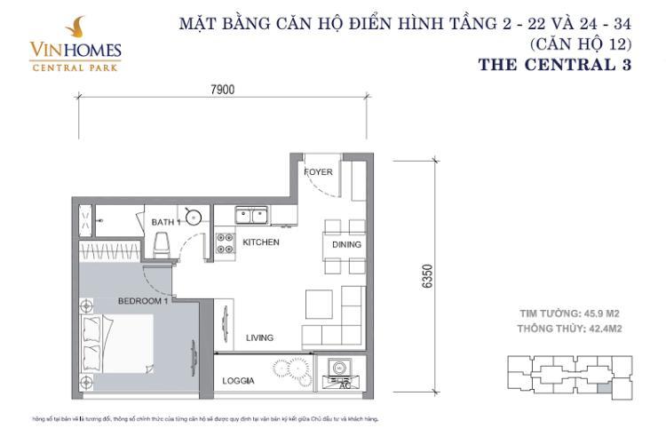 Mặt bằng căn hộ 1 phòng ngủ Căn hộ Vinhomes Central Park tầng cao Central 3 đầy đủ tiện nghi