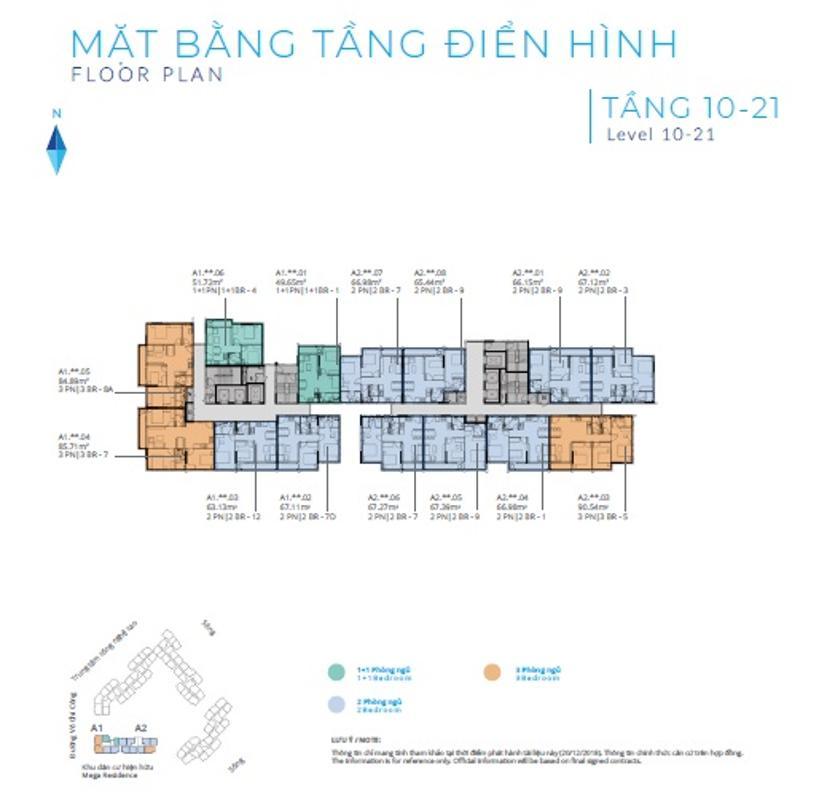 mat-bang-tang-10-21-safira-khang-dien-block-a Bán căn hộ Safira Khang Điền 2 phòng ngủ, tầng trung, diện tích 60m2, hướng Nam