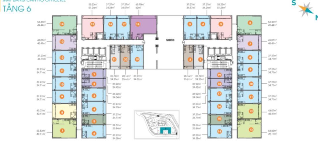 mặt bằng chung Lavida Plus Office-tel Lavida Plus nội thất cơ bản thuận tiện mở văn phòng.