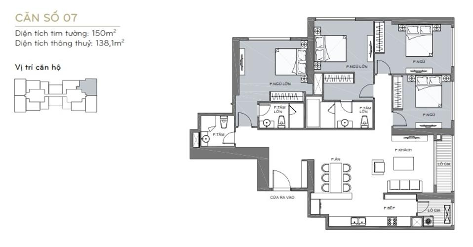 Mặt bằng căn hộ 4 phòng ngủ Căn hộ Vinhomes Central Park 4 phòng ngủ tầng cao L6 view sông